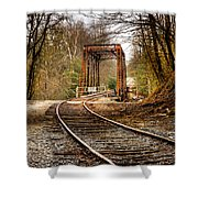Train Memories Shower Curtain by Debra and Dave Vanderlaan