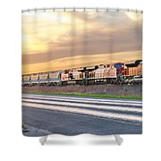 Train On The Tracks Shower Curtain