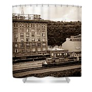 Train Passes Station Square Pittsburgh Antique Look Shower Curtain