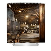 Train - Ready In The Roundhouse Shower Curtain by Mike Savad