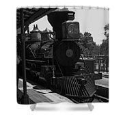 Train Ride Magic Kingdom Black And White Shower Curtain