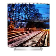 Train Station First Snow Shower Curtain