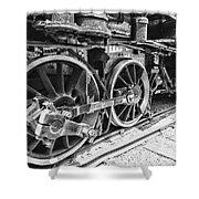 Train - Steam Engine Wheels - Black And White Shower Curtain