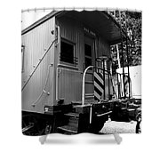 Train - The Caboose - Black And White Shower Curtain