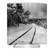 Train Tracks In The Snow Shower Curtain