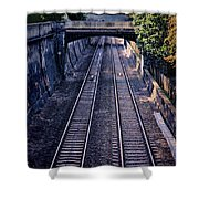 Train Tracks Into Town Shower Curtain