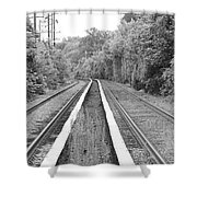 Train Tracks Running Through The Forest Shower Curtain