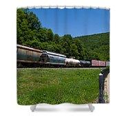 Train Watching At The Horseshoe Curve Altoona Pennsylvania Shower Curtain