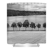 Train With A View Bw Shower Curtain