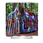 Train Wreck Art In The Forest Shower Curtain