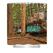 Train Wreck Canvas Among The Trees Shower Curtain