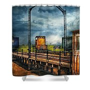 Train - Yard - On The Turntable Shower Curtain by Mike Savad
