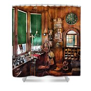 Train - Yard - The Stationmasters Office  Shower Curtain