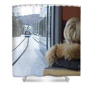 Tram In Winter Shower Curtain