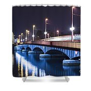 Tram Over A Bridge Shower Curtain