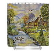 Tranquil Log Cabin Shower Curtain