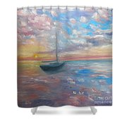Tranquil Ocean Sunset Shower Curtain