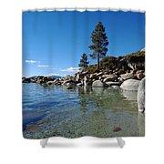 Tranquil Tahoe Beach Shower Curtain