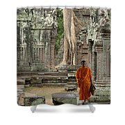 Tranquility In Angkor Wat Cambodia Shower Curtain by Bob Christopher