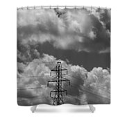 Transmission Tower In Storm Shower Curtain