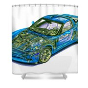 Transparent Car Concept Made In 3d Graphics 11 Shower Curtain