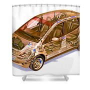 Transparent Car Concept Made In 3d Graphics 9 Shower Curtain