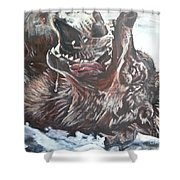Trauma With Wolf Shower Curtain