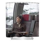 Travel In Train Shower Curtain