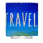 Travel Word Art Shower Curtain