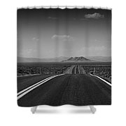 Traveling Down The Road Into The Mountains Shower Curtain