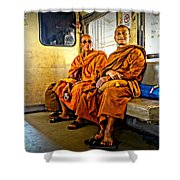 Traveling Monks Shower Curtain