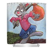 Traveling Rabbit Shower Curtain by Terry Lewey