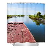 Traveling Through Tonle Sap Lake Shower Curtain