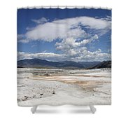 Travertine Hill Of Mammoth Hot Springs  Shower Curtain