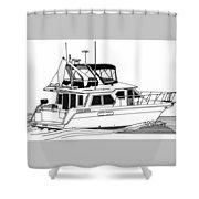Trawler Yacht Shower Curtain by Jack Pumphrey