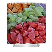 Tray Of Melon Chunks Art Prints Shower Curtain
