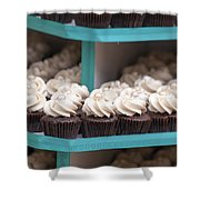 Trays Of Cupcakes Closeup Shower Curtain