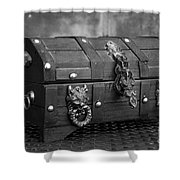 Treasure Chest In Black And White Shower Curtain