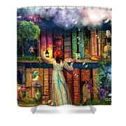 Fairytale Treasure Hunt Book Shelf Variant 2 Shower Curtain