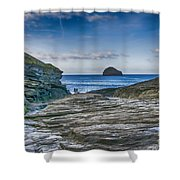 Trebarwith Strand Cornwall Shower Curtain