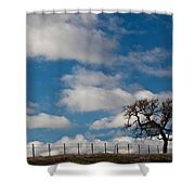 Tree And Fence On A Landscape, Santa Shower Curtain