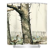 Tree And Geese Shower Curtain