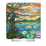 Tree And Lilies At Sunrise Shower Curtain by Genevieve Esson