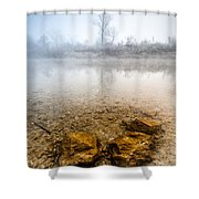 Tree And Rocks Shower Curtain by Davorin Mance