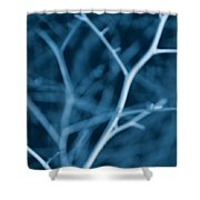 Tree Branches Abstract Cobalt Blue Shower Curtain