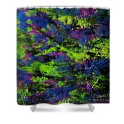 Tree Branches Lit With Abstract Colorful Projection Shower Curtain