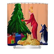 Tree Decorating Shower Curtain