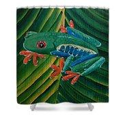 Tree Frog Koi Shower Curtain