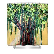 Tree Grit Shower Curtain