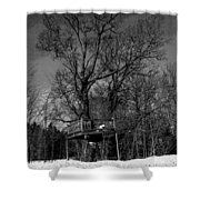 Tree House In Black And White Shower Curtain